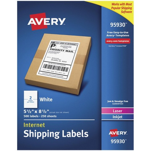 Avery Internet Shipping Labels 95930, 5-1/2 x 8-1/2 Inches, pk of 500 - image 1 of 3