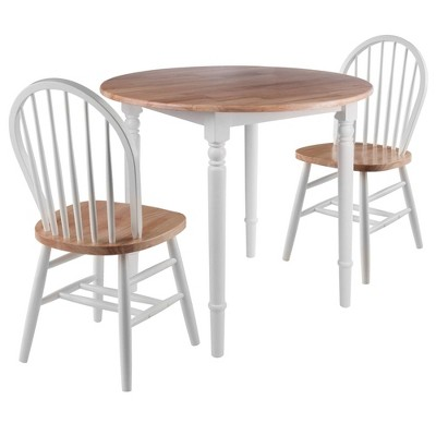 3pc Sorella Drop Leaf Dining Set with Windsor Chairs Natural/White - Winsome