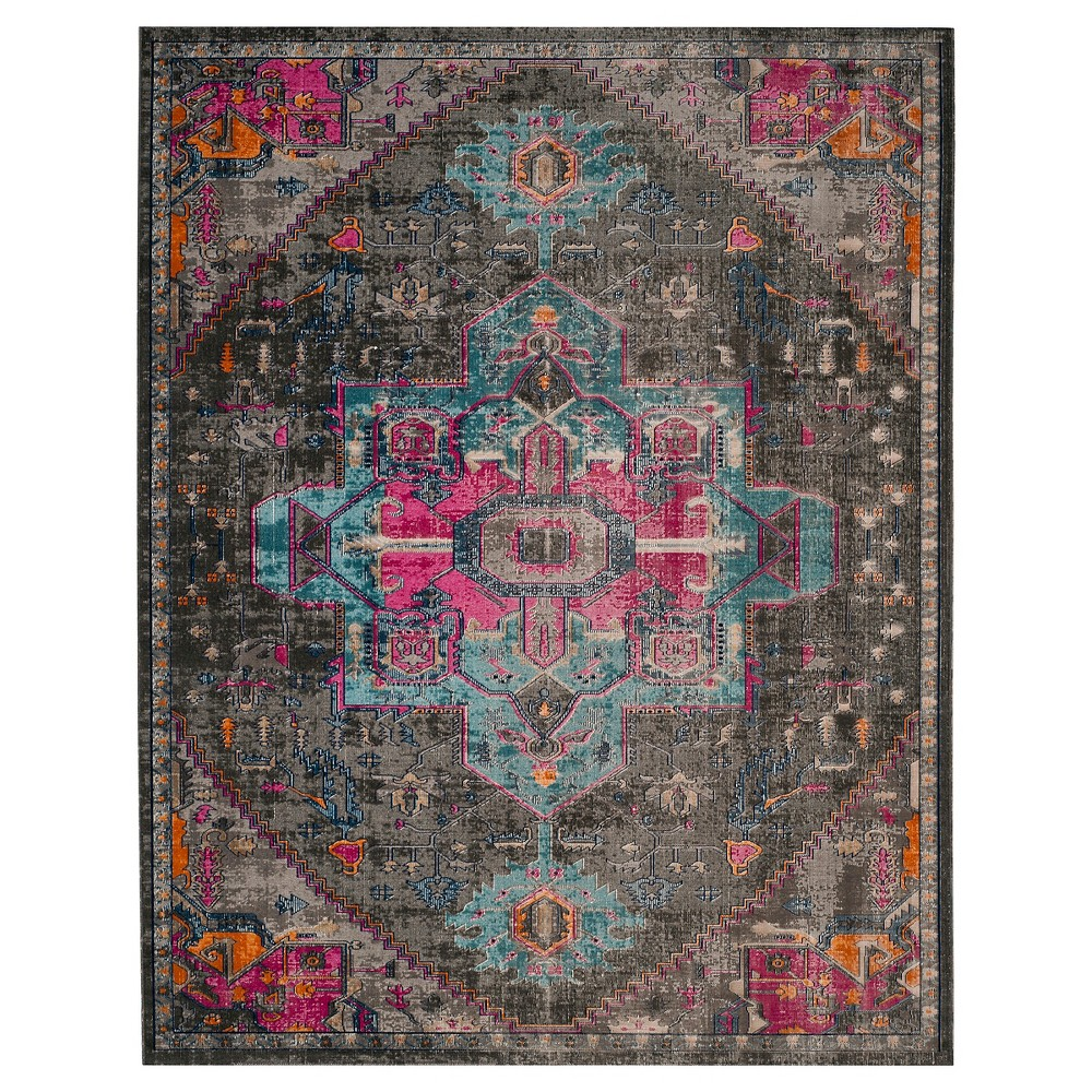 Anthracite/Light Gray Medallion Loomed Area Rug 5'1