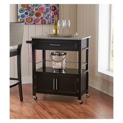 225 & Cameron Granite Top Kitchen Cart Wood/Black - Linon