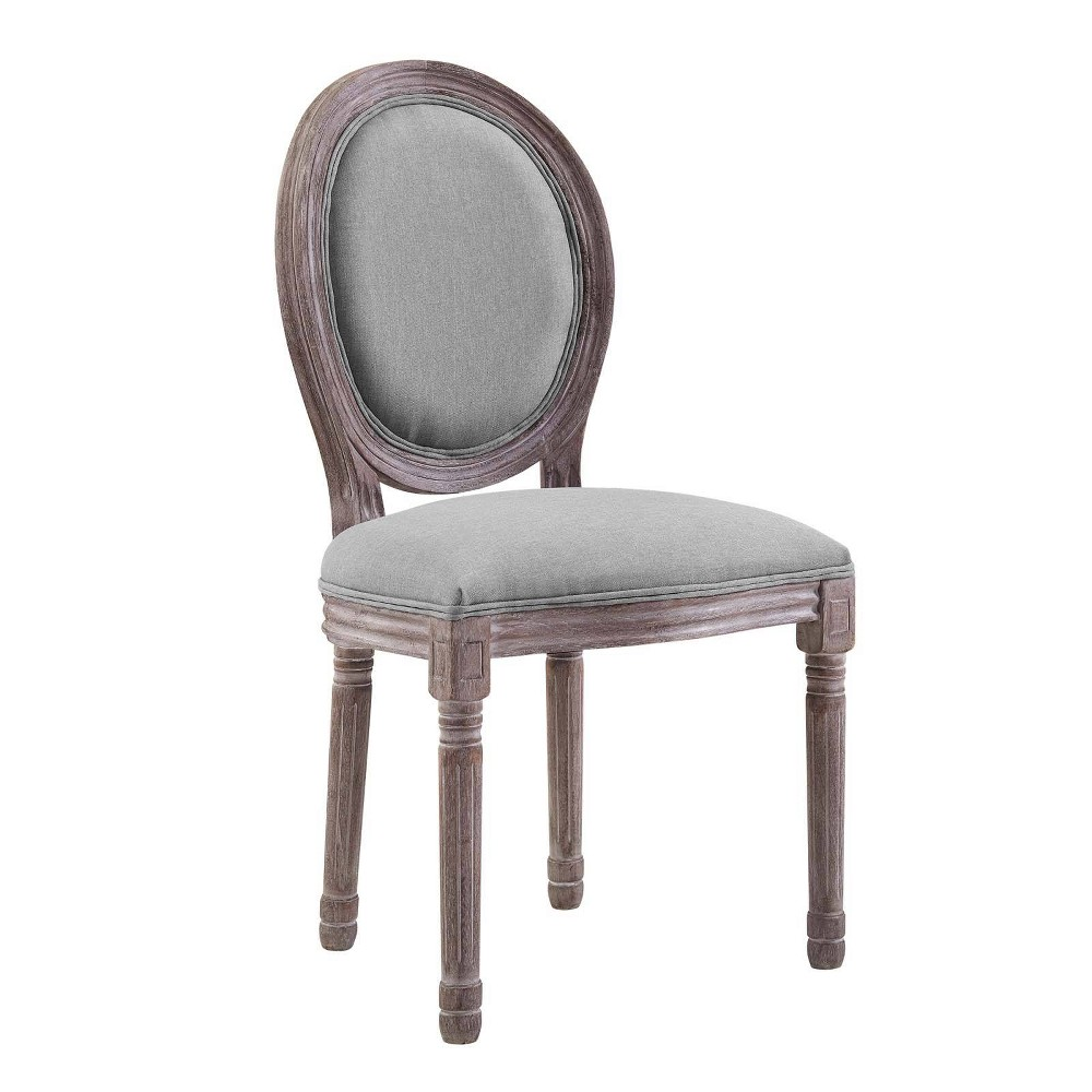 Emanate Vintage French Upholstered Fabric Dining Side Chair Light Gray - Modway