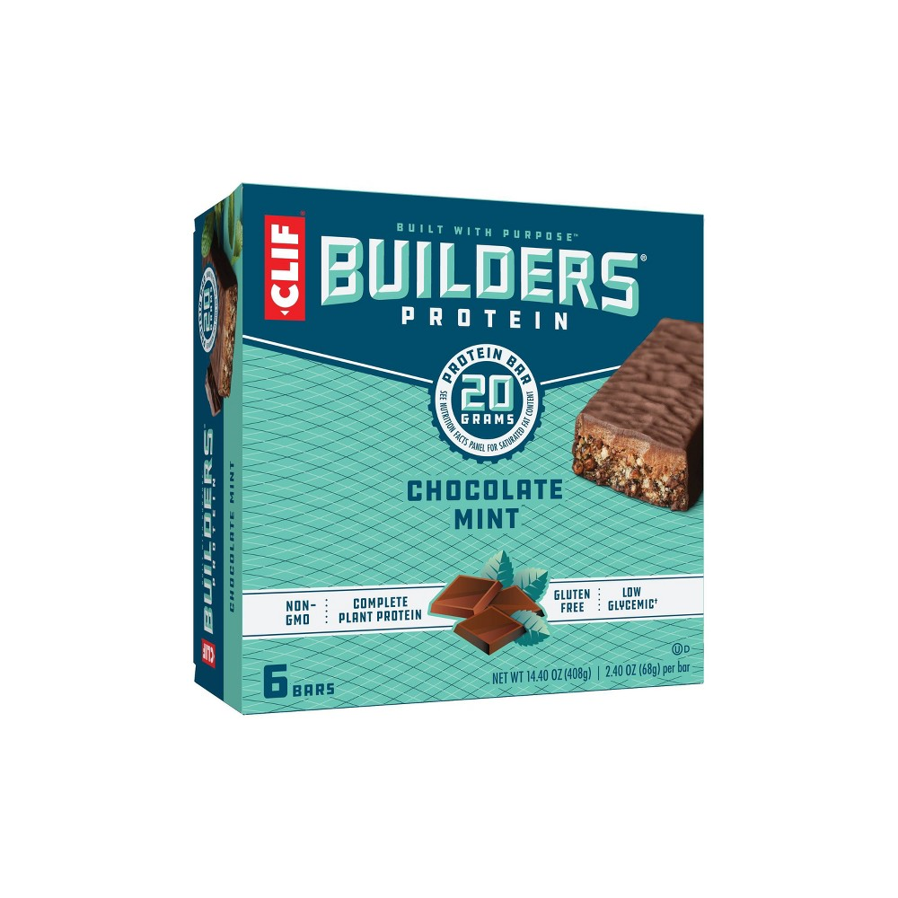 Clif Builders Protein Bars Chocolate Mint 20g Protein 6ct