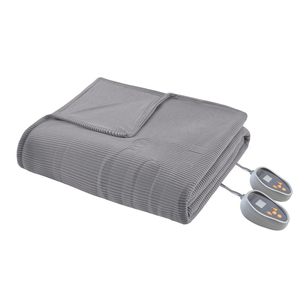 Knitted Micro Fleece Electric Blanket (Twin) Gray - Beautyrest