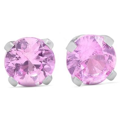 Pompeii3 1/4 Ct TDW Pink Sapphire Studs 14k White Gold
