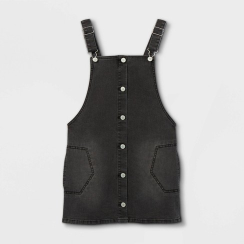 Girls' Denim Button-Front Sleeveless Dress - art class™ Black - image 1 of 2