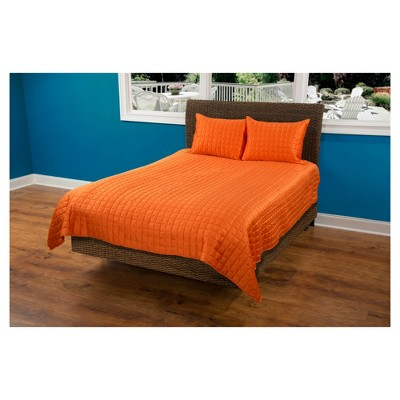 Orange Geometrical Poly Satin Maddux Place Quilt Set (Queen)- Rizzy Home®