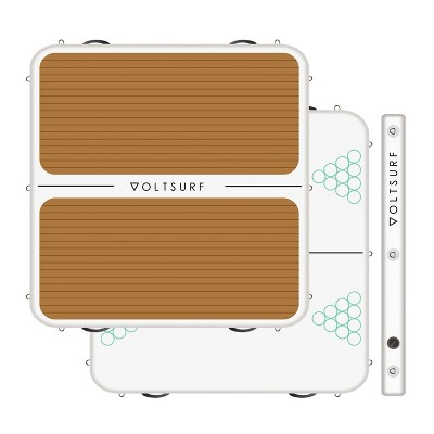 VoltSurf Party Barge 1,200 Pound Capacity 7 x 7' Inflatable Dock with Traction Pad, Dual Action Pump, and Carrying Strap, White