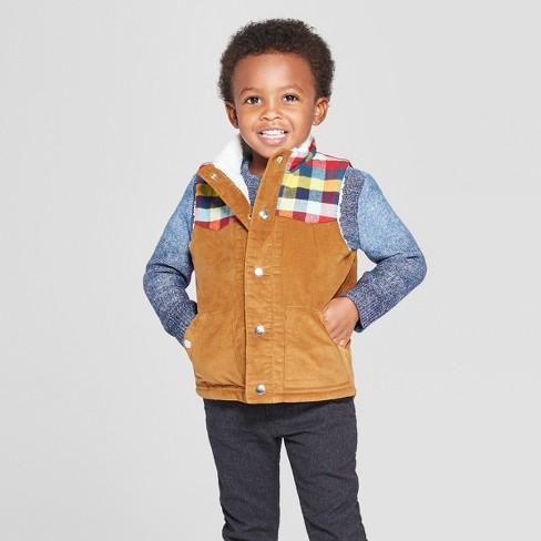 Toddler Boys Corduroy Vest Cat Jack Brown