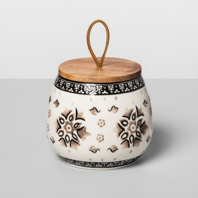 28oz Stoneware Floral Canister Gray - Opalhouse™