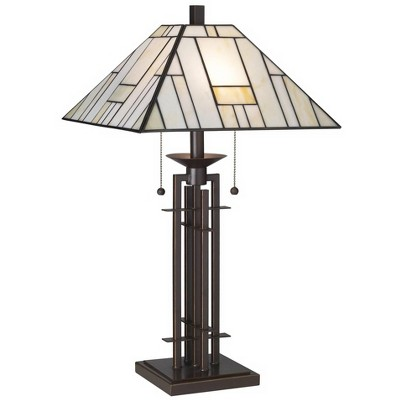 Franklin Iron Works Tiffany Style Table Lamp Art Deco Wrought Iron Bronze Stained Glass for Living Room Family Bedroom Bedside