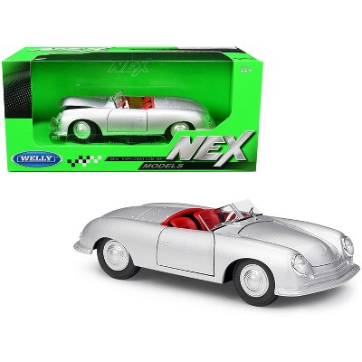 """Porsche 356/1 Roadster Silver with Red Interior """"NEX Models"""" 1/24 Diecast Model Car by Welly"""