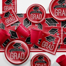 Red Graduation School Party Supplies Kit