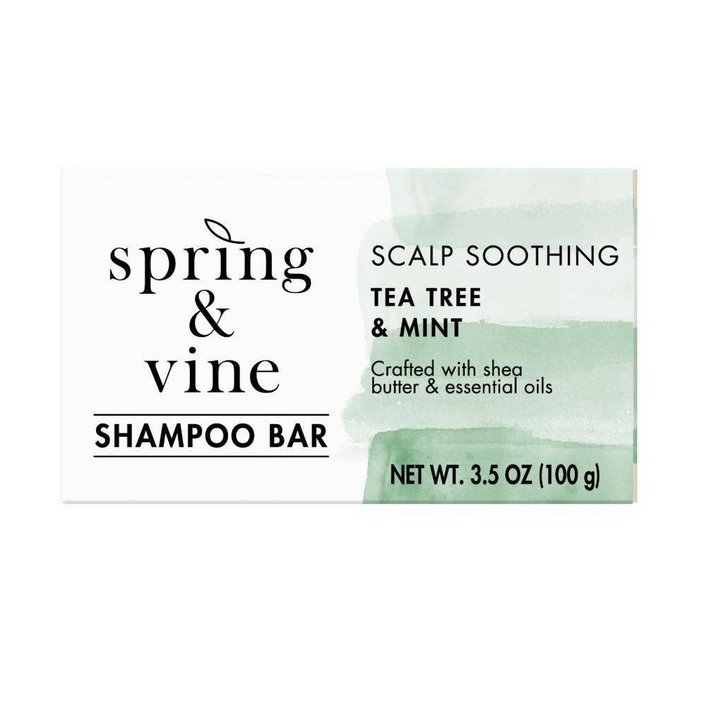 Image of Spring & Vine Tea Tree & Mint Scalp Soothing Shampoo Bar - 3.5oz