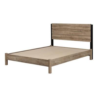 Full Munich Platform Bed Set Weathered Oak/Matte Black - South Shore