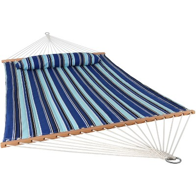 Sunnydaze Heavy Duty Two-Person Quilted Fabric Hammock with Spreader Bars - 450 lb Capacity - Catalina Beach