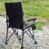 Timber Ridge Indoor Outdoor Portable Lightweight Folding Camping High Back Lounge Chair with Cup Holders and Carry Bags, Black (Pack of 2) - image 4 of 4