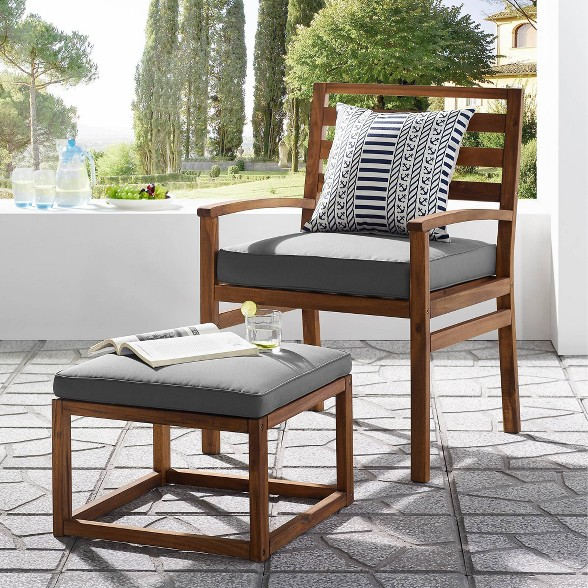 Pleasing 2Pc Acacia Wood Outdoor Patio Chair And Ottoman Saracina Home Beatyapartments Chair Design Images Beatyapartmentscom