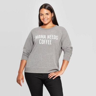 Women's Mama Needs Coffee Graphic Plus Size Sweatshirt (Juniors')   Gray by Grayson Threads