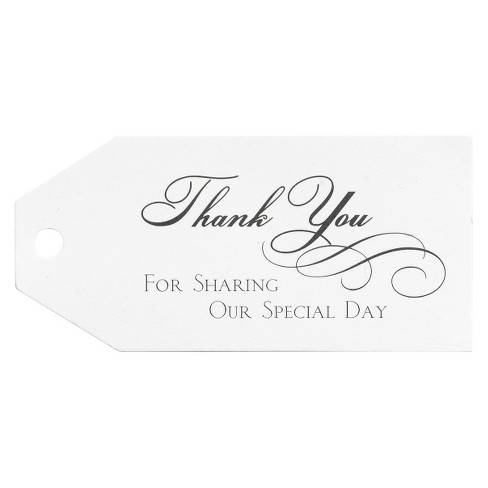 25ct Wedding Thank You Favor Cards  - White - image 1 of 2