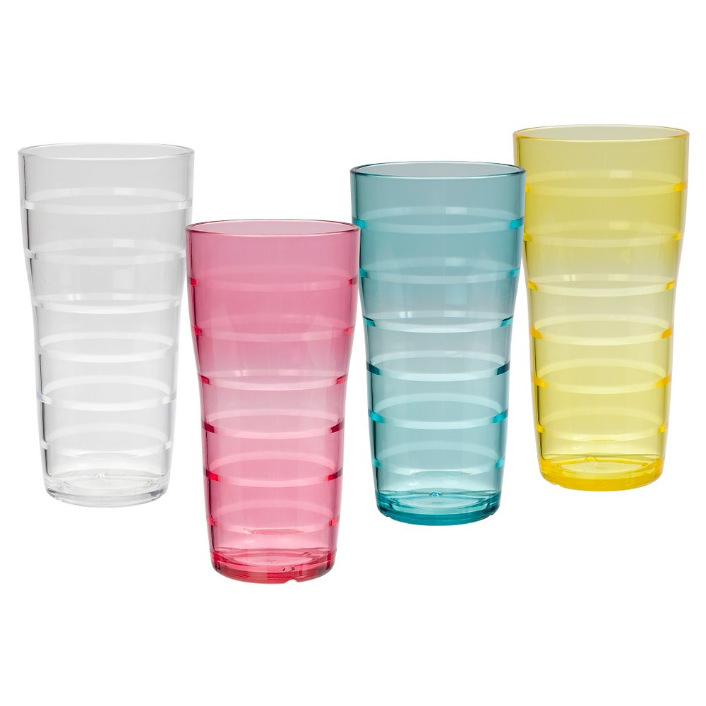 Image of CreativeWare 26oz Acrylic Lemonade Tumblers Multicolored - Set of 8, Multi-Colored