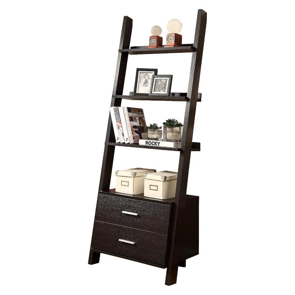 69 Ladder Bookcase with Drawers - Brown - EveryRoom