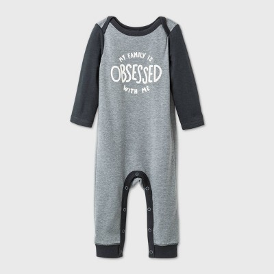 Baby Obsessed Family Romper - Cat & Jack™ Gray 0-3M