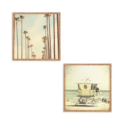 "(Set of 2) 12"" x 12"" Los Angeles Palms Framed Decorative Wall Art Green - Deny Designs"