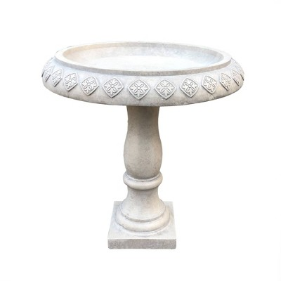 "21.9"" Concrete Lightweight Kante Traditional Textured Flower Diamond Pattern Birdbath White - Rosemead Home & Garden, Inc."