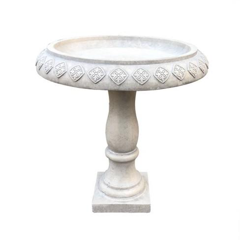 "21.9"" Concrete Lightweight Kante Traditional Textured Flower Diamond Pattern Birdbath White - Rosemead Home & Garden, Inc. - image 1 of 4"