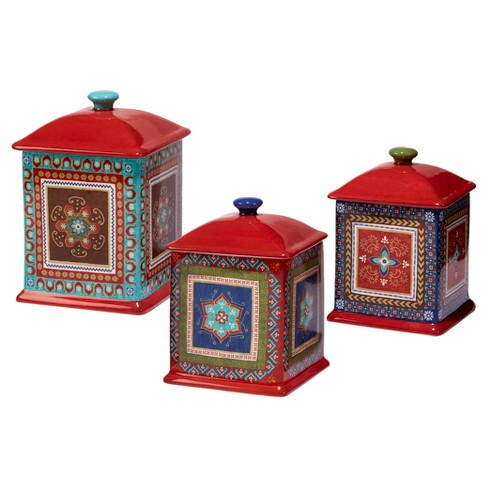 Certified International Monterrey by Veronique Charron Ceramic 3pc Canister Set Red - image 1 of 2