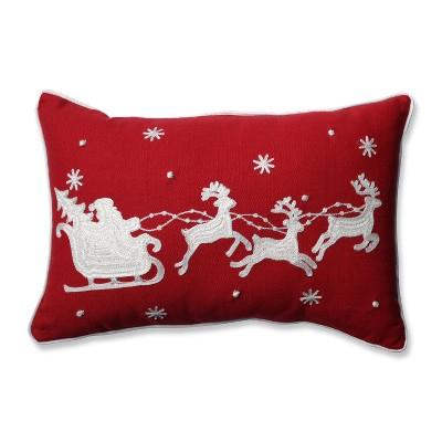 """11.5""""x18.5"""" Santa Sleigh & Reindeers Lumbar Throw Pillow - Pillow Perfect"""