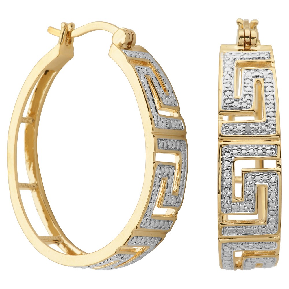 18k Yellow Gold Plated Bronze Diamond Accent Hoop Earrings, Girl's