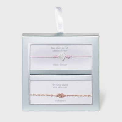 Cubic Zirconia Heart with Pink Cord and Wing Bolo Bracelet 2pc - Silver