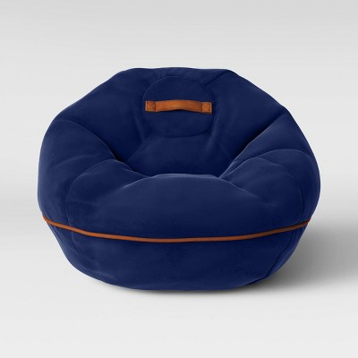 Bean Bag Chair with Suede Piping Navy - Pillowfort™