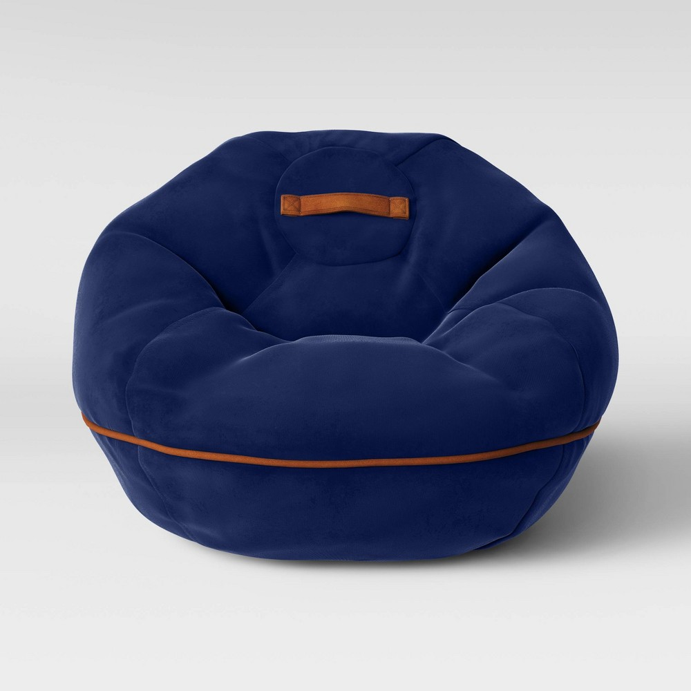 Enjoyable Bean Bag Chair With Suede Piping Navy Blue Pillowfort Gmtry Best Dining Table And Chair Ideas Images Gmtryco