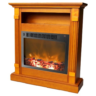 Cambridge CAM3437-1TEK Sienna Fireplace Mantel with Electronic Fireplace Insert Teak