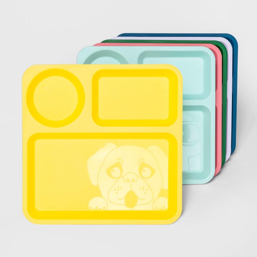 """Image of """"10"""""""" 6pk Plastic Kids Divided Dinner Plates - Pillowfort"""""""