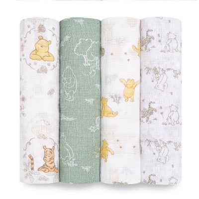 Aden + Anais Essentails Muslin Swaddles Disney Winnie + Friends - Beige 4pk