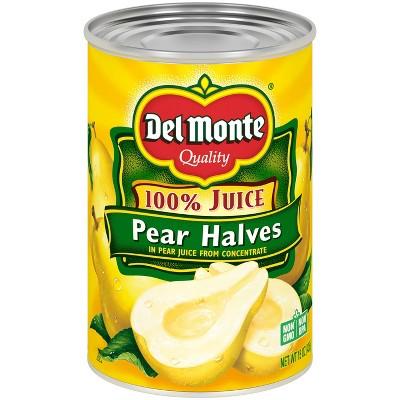 Del Monte Bartlett Pear Halves in 100% Real Fruit Juice - 15oz