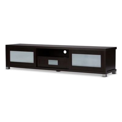 "Gerhardine Wood 70"" TV Cabinet with 2 Sliding Doors and Drawer - Dark Brown - Baxton Studio"