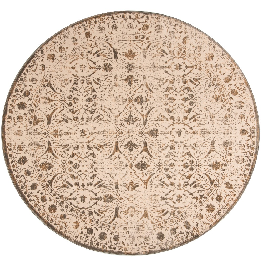 6'7 Medallion Round Area Rug Cream/Bronze (Ivory/Bronze) - Safavieh