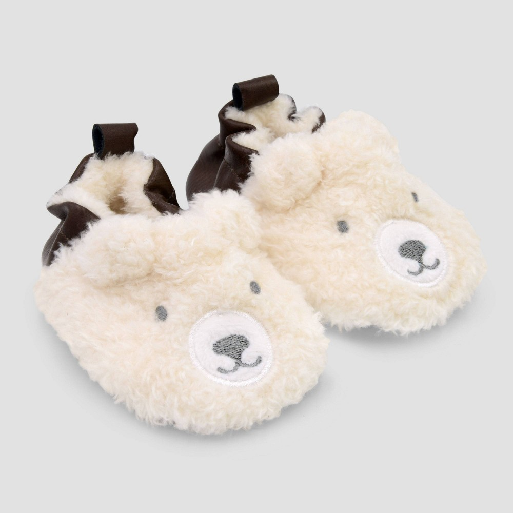 Image of Baby Boys' Bear Crib Shoes - Just One You made by carter's Brown 0-3M, Boy's, Size: Small