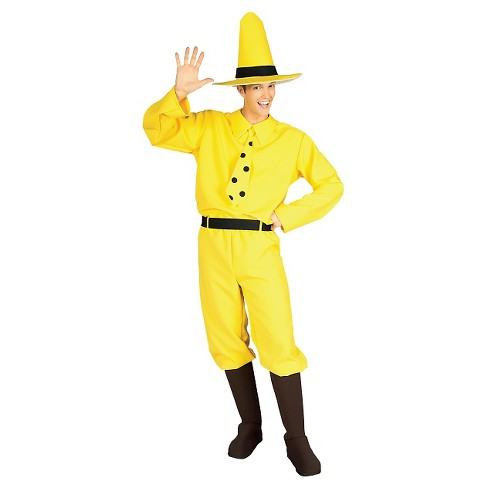 Men's Curious George Man In Yellow Hat Costume - One Size - image 1 of 1