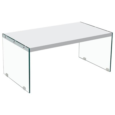 Hingham Rectangular Clear Glass Legs Coffee Table in White - Best Master Furniture