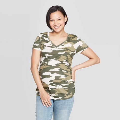 Maternity Camo Print Short Sleeve Shirred V Neck T Shirt Isabel Maternity By Ingrid Isabel Green S Target