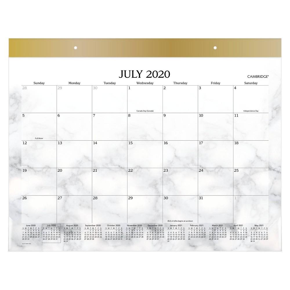 Image of 2020-21 Academic Desktop Calendar Bianca White Marble - Cambridge