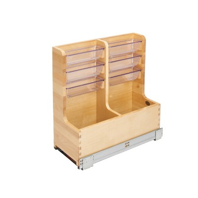 Rev-A-Shelf 441-15VSBSC-1 30 Inch Floor Mount L Shaped Wood Sink Vanity Cabinet Base Storage Organizer with Soft Close Slides and Bins, Natural Maple