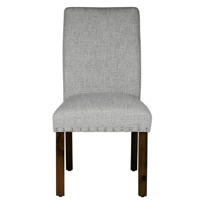 Michele Dining Chair with Nailhead Trim (Set of 2)- Marbled Gray - HomePop