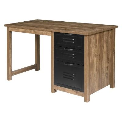 Norwood Range 3Drawer Writing Desk Wood And Black Metal Oak - OneSpace