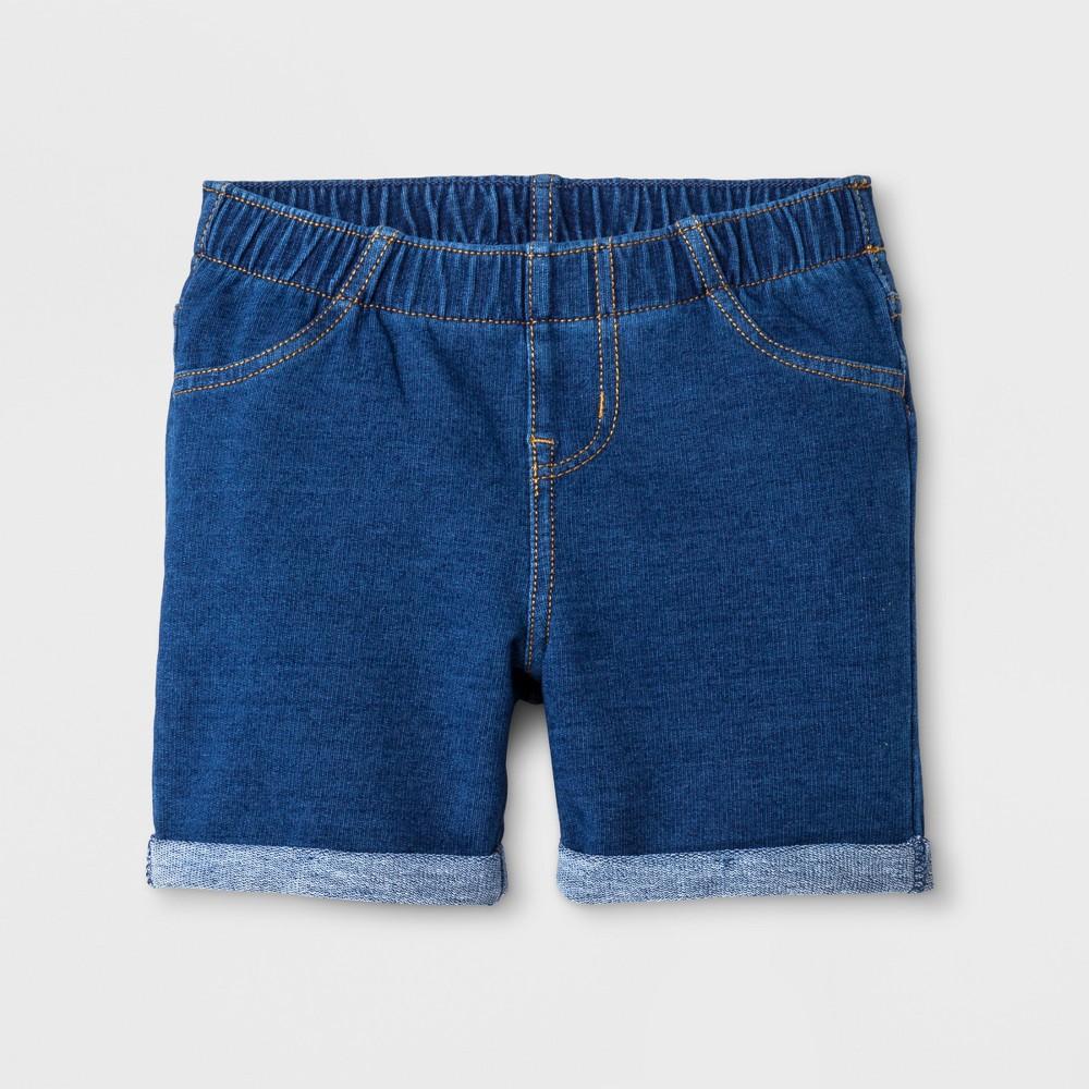 Toddler Girls' Knit Shorts - Cat & Jack Faux Light Denim 2T, Blue